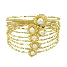 Golden Bangles, with Stimulated Pearls