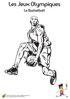 Coloriage d'un basketteur allant au dunk durant les Jeux Olympiques