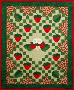 Free Strawberry Quilt Patterns | Strawberry Patches by Muddled Madness & Miracles