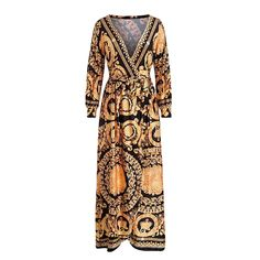 Vintage Split Sexy Boho Dress Women Summer Elegant Print Maxi Dress Long Sleeve Paisley 2019 Long Robe Party Club Dress Size S Color Yellow Club Dresses, Casual Dresses, Casual Outfits, Spring Fashion Outfits, Summer Outfits, Beach Outfits, Vestidos Vintage, Summer Dresses For Women, Dress Summer