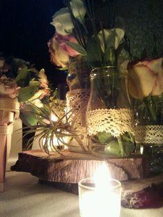 Centro de mesa de boda vintage.