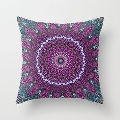 purple and blue kaleidoscope Throw Pillow by Sylvia Cook Photography - $20.00 #kaleidoscope #pattern #abstract #purple #dots #pillow #homedecor