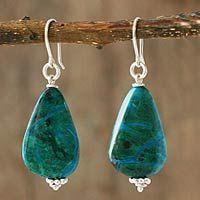 Chrysocolla dangle earrings, 'Verdant Wisdoms' by NOVICA