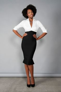 Pinup Couture Lauren Dress in White and Black