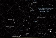 Comet Jacques (C/2014 E2) and Comet Oukaimeden (C/2013 V5) are just bright enough to see in ordinary binoculars. Use our finder charts to find the comets in your sky.