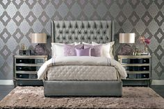 Amelia Tall Bed, Brussels Charcoal - Furniture - Bedroom - Beds - Best Sellers - Made in the USA Furniture - Room Ideas - Bedroom - Gunmetal Glamour - Night Light - Luxury in Lavender - Award-Winning Furniture