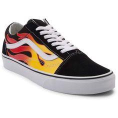 505b860f3e New Vans Old Skool Flames Print Multi Skate Shoe Black Women s In Hand