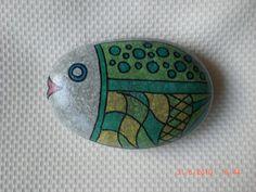 Fish painted stone