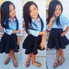 Children's fashion.  Jean 3/4 sleeve top black skirt