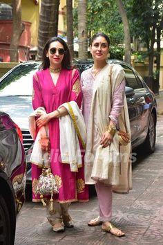 Kareena Kapoor Khan, Karisma Kapoor & Taimur Ali Khan flaunt shades of pink on Diwali; See Pics Indian Designer Suits, Indian Suits, Indian Attire, Indian Wear, Punjabi Suits, Bollywood Celebrities, Bollywood Fashion, Bollywood Saree, Bollywood Actress