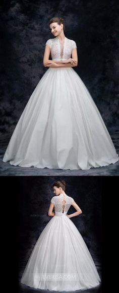 1328cce0842214 White Deep V Neck A Line Wedding Dresses