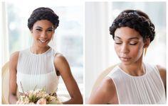 Penteado para noiva negra: coque com trança. Penteado de Your Stylist AJ e foto de Emilia Jane Photography.