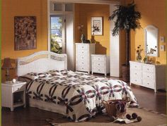 Nassau white wicker bedroom furniture by Tickle Imports