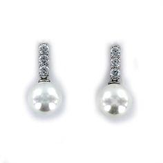 Pendiente de circonita y perla de 10 mm con  barra con tres piedras