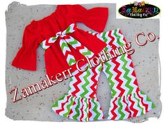 Girl Clothing Christmas Pageant Santa Outfit by ZamakerrClothingCo Toddler Girl Christmas Dresses, Girls Christmas Outfits, Kids Outfits, Christmas Clothing, Red Chevron, Chevron Dress, Baby Chevron, Pageant Dresses, Pageant Wear