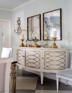 gold and white buffet table. Silver instead of gold? White Buffet Table, Buffet Tables, Interior Exterior, Interior Design, Painted Furniture, Furniture Design, Shabby, Room Inspiration, Mirror Inspiration