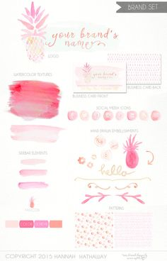 Business Identity Brand Set: Pre Made Feminine Tropical Pineapple Watercolor Logo