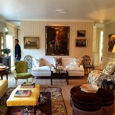 Living room in the English countryside home of designer Cameron Kimber