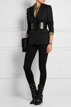 Isabel Marant|Arnie leather boots & Dudley leather belt, Stella McCartney | Ingrid wool-twill blazer, Equipment | Signature linen shirt, Saint Laurent | Monogramme silver-tone cuff