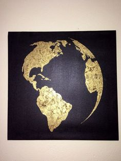 Items similar to Hand painted map of the world- Black and Bronze-Ready to Ship on Etsy : Hand painted, you are sure to absolutely love this piece. Simple and elegant, the map of the world is painted on a black canvas using the finest Black Canvas Paintings, Easy Paintings, Acrylic Canvas, Canvas Art, Canvas Crafts, Painted Leaves, Hand Painted, Gold Leaf Art, Resin Art