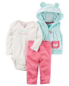 Baby Girl 3-Piece Little Vest Set from Carters.com. Shop clothing & accessories from a trusted name in kids, toddlers, and baby clothes.