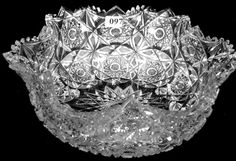"4"" X 11"" AMERICAN BRILLIANT CUT GLASS BLOWN MOLD BOWL : Lot 97"