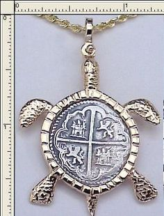 shipwreck coin jewelry | ... lima mint coin key west turtle 14k solid gold bezel atocha silver coin