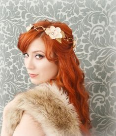 THIS ONE THIS ONE THIS ONE wedding flower crown hair wreath cream velvet by gardensofwhimsy, $70.00