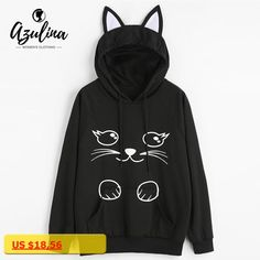 AZULINA 2017 Autumn New Fashions Black Pullover Sweatshirt Cartoon Cat Graphic Hoodies Kangaroo Pocket Cat Ear Hooded Sweatshirt