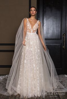 Summer Wedding Dresses crystal design 2018 sleeveless deep v neck full embellishment romantic a line wedding dress open v back chapel train (star) mv - View the gorgeous gowns from three stunning collections! Lazaro Wedding Dress, V Neck Wedding Dress, White Lace Fabric, Bridal Lace Fabric, Mermaid Dresses, Designer Wedding Dresses, Bridal Collection, The Dress, Bridal Gowns