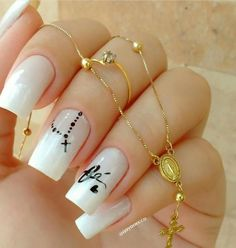 12 unique trending nail art designs for Hot nail right nail now in fashion. Stiletto nails, rainbow almond nails, Ombre rounded nail art designs for summer. Cross Nail Designs, Fall Nail Art Designs, White Nail Designs, Acrylic Nail Designs, Nail Art Hacks, Easy Nail Art, Cool Nail Art, White Nail Art, White Nails