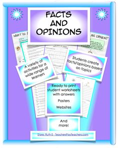 Do your students have difficulty distinguishing facts from opinions? Activities in this 25 page packet provide for a wide range of learners and can be used as assessments, at centers, with small groups or as independent work. priced item.