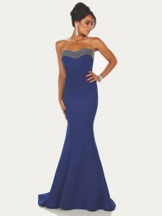 синя бална рокля тип русалка