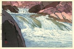 Nakabusa River Rapids  by Hiroshi Yoshida, 1926