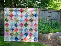 Scrappy Garden Tiles Quilt - an exercise in fabric value