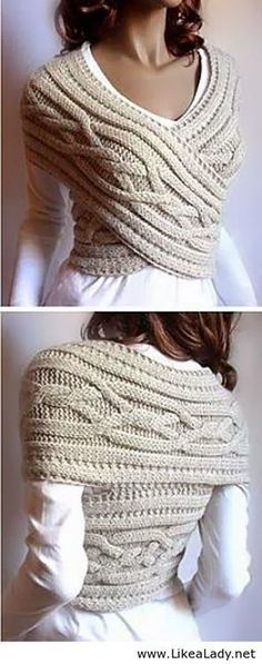 Different style using your scarf    Beautiful Celtic Knit.   LikeaLady.net on imgfave
