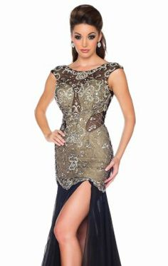 Beaded Bodice Gown by Mac Duggal Black White Red 61703R