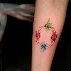 Watercolour Playstation tattoo by Felipe Rodrigues Fe Rod Thanks Felipe! - Playstation - Ideas of Playstation Tattoos Motive, Body Art Tattoos, New Tattoos, Sleeve Tattoos, Tattoos For Guys, Cool Tattoos, Tatoos, Tattoo Homme, Button Tattoo
