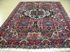 8 x 11 ANTIQUE PERSIAN BAKHTIARI Tribal Hand Knotted Wool NAVY RED Oriental Rug #AntiquePersianBakhtiariTraditionalTribal