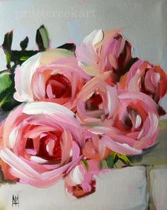"""""""pink roses on the table"""" original fine art by Angela Moulton"""