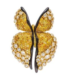 * An 18 Karat Yellow Gold, Colored Diamond and Diamond Butterfly Brooch   Important Jewelry from the Estate of Rita Dee Hassenfeld   September 16, Chicago