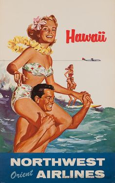 A fun vintage Northwest Orient Airlines poster promoting travel to Hawaii.