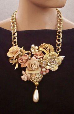 Sculpted Flower Bib Necklace Repurposed by secondlookjewelry, $140.00