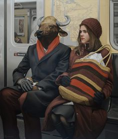 Artist: Matthew Grabelsky {contemporary realism surreal bull subway female sitting woman painting}