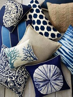 Shades of navy, blue for living room or throw pillows? These would look great in any coastal living room!