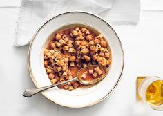 Ditalini with Chickpeas and Garlic Rosemary Oil--we luv the chickpeas.