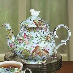 Bird Chintz on Blue Teapot.I have the teacup :) Bird Chintz on Blue Teapot.I have the teacup :) Tea Cup Saucer, Tea Cups, Cafetiere, Cuppa Tea, Teapots And Cups, My Cup Of Tea, Chocolate Pots, Vintage Tea, High Tea