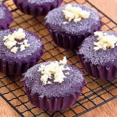 Ube Mamon Sift together dry ingredients: 2 cups cake flour 1 cup sugar (divided) 1 teaspoon baking powder In a large bowl, combine wet ingredients: 1/2 cup water 1/2 cup evaporated milk 1/2 cup cor…