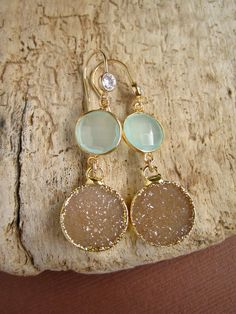 Linear Druzy Earrings Drusy Quartz Sea Green Chalcedony Gold Vermeil Bezel Set. $125.00, via Etsy.