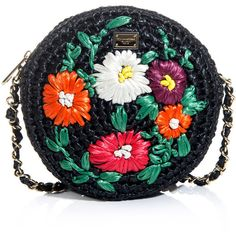 Dolce & Gabbana Glam Floral Raffia Bag (£325) ❤ liked on Polyvore featuring bags, handbags, purses, dolce & gabbana, hand bags, crossbody chain purse, crossbody handbags, handbags crossbody and chain strap crossbody